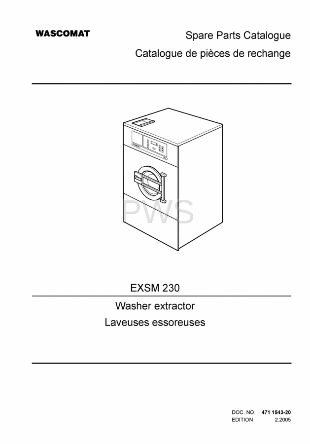 diagrams parts and manuals for wascomat exsm 230 washer rh pwslaundry com Wascomat W124 Senior Wascomat Senior W 125