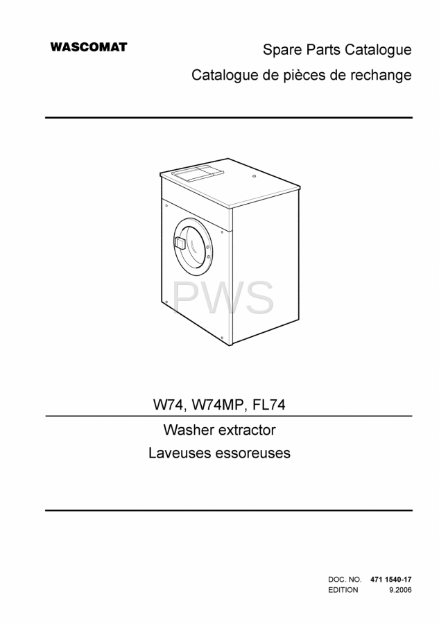 diagrams  parts and manuals for wascomat w74 washer
