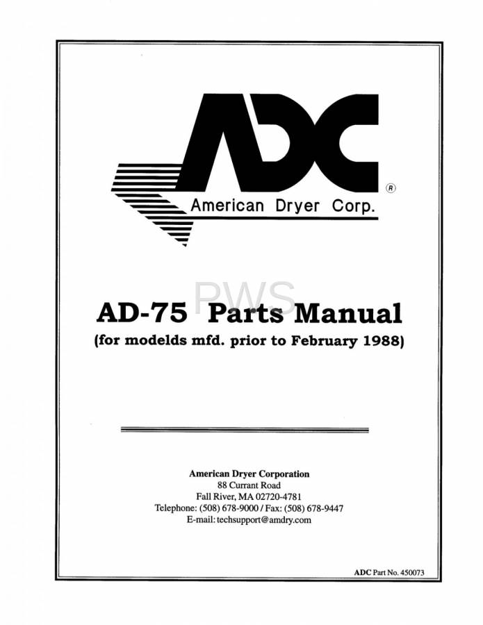 F121165288 diagrams, parts and manuals for american dryer ad 75 dryer  at virtualis.co