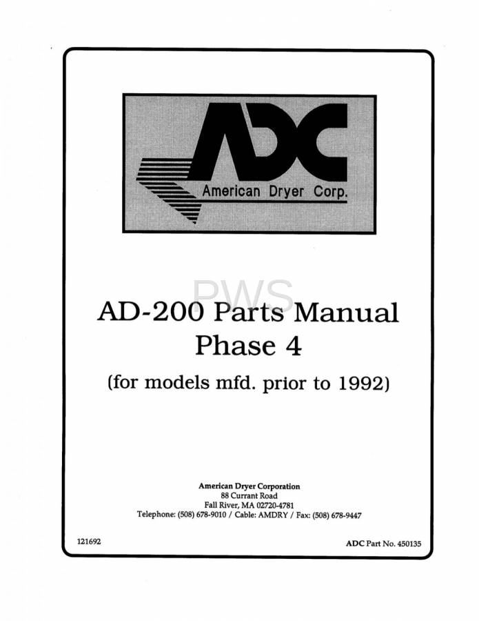 Diagrams  Parts And Manuals For American Dryer Ad
