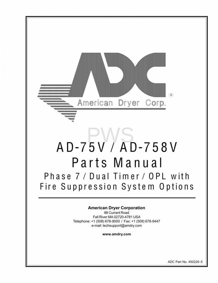 Diagrams, Parts and Manuals for American Dryer AD-758V Dryer on