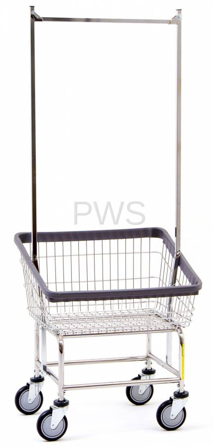 R Amp B Rolling Front Load Laundry Cart Chrome Basket 100t58