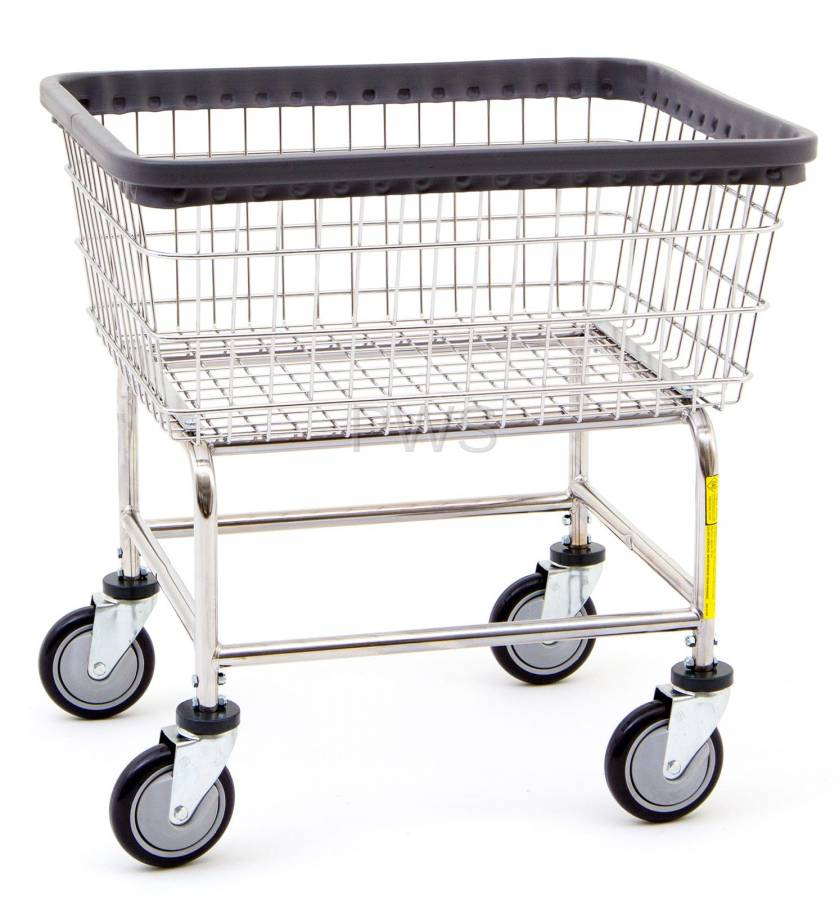 R&B Wire Products - R&B Wire #100D Rolling Narrow Laundry Cart/Chrome Basket  on