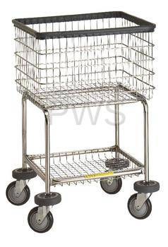 R B Elevated Laundry Cart Chrome Basket P N 300g Comml