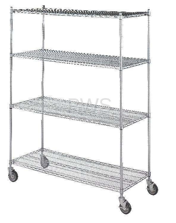 R&B Wire LC244872 Linen Cart 24x48x72, 4 Wire Shelves - R&B Laundry ...