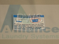 Huebsch Parts - Huebsch #802838R2 Washer/Dryer LABEL OVERSUDSING-SPANISH