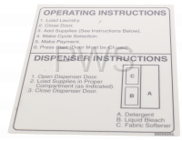 Speed Queen Parts - Speed Queen #685942R5 Washer LABEL OPERATING INSTRUCTIONS