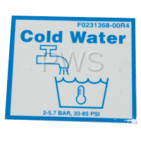 Unimac Parts - Unimac #F0231368-00R4 Washer LABEL VALVE-COLD WATER