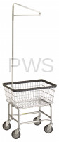R&B Wire Products - R&B Wire #100E91 Rolling Standard Laundry Cart/Chrome Basket w/Sngl Pole Rack