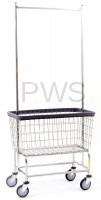R&B Wire Products - R&B Wire #200F56 R&B Wire #200F56 Large Capacity Rolling Laundry Cart/Chrome Basket w/Double Pole Rack