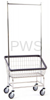 R&B Wire Products - R&B Wire #200S56 Large Capacity Front Load Laundry Cart/Chrome Basket w/Dbl Pole Rack