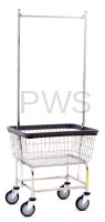 R&B Wire Products - R&B Wire #100D58 Rolling Narrow Laundry Cart/Chrome Basket w/Dbl Pole Rack
