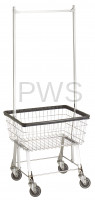 R&B Wire Products - R&B Wire #96B58 Economy Laundry Cart/Chrome Basket w/Double Pole Rack