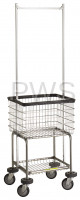 R&B Wire Products - R&B Wire #300G55 Elevated Laundry Cart/Chrome Basket w/Double Pole Rack