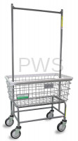 R&B Wire Products - R&B Wire #200F56/ANTI R&B Wire 200F56/ANTI Antimicrobial Large Capacity Laundry Cart w/ Double Pole Rack
