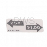 Unimac Parts - Unimac #F0231595-00 Washer DECAL $1.00/.25 COIN M