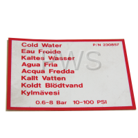 Speed Queen Parts - Speed Queen #F230857 Washer DECAL COLD WATER UNIV
