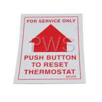IPSO Parts - Ipso #F231379 Washer DECAL RESET THERMOSTAT