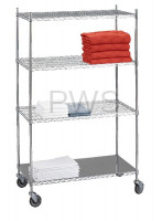 R&B Wire Products - R&B Wire LC183672SOL Linen Cart 18x36x72 w/Solid Bottom 16 gauge Chrome Plated Shelf