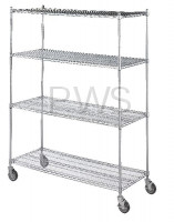 R&B Wire Products - R&B Wire LC243672 Linen Cart 24x36x72, 4 Wire Shelves