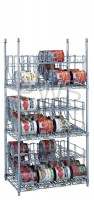 R&B Wire Products - R&B Wire CRS3243672 3 Tier Can Rack System, 3 Wire Shelves & 12 Modules - 96 #10 Cans