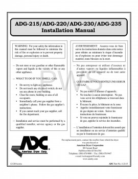American Dryer Parts - Diagrams, Parts and Manuals for American Dryer ADG-235 Dryer