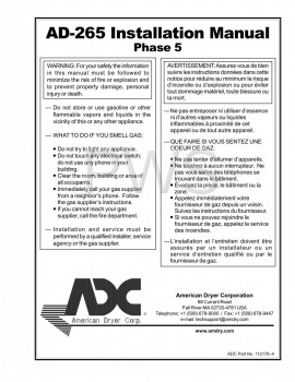 American Dryer Parts - Diagrams, Parts and Manuals for American Dryer AD-265 Dryer
