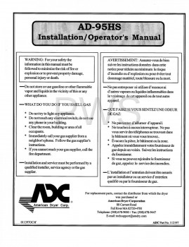 American Dryer Parts - Diagrams, Parts and Manuals for American Dryer AD-95HS Dryer