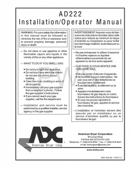 American Dryer Parts - Diagrams, Parts and Manuals for American Dryer AD222 Dryer