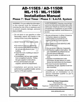 American Dryer Parts - Diagrams, Parts and Manuals for American Dryer AD-115DR Dryer