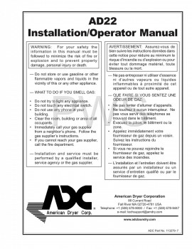 American Dryer Parts - Diagrams, Parts and Manuals for American Dryer AD22 Dryer