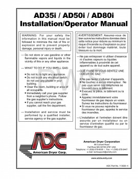 American Dryer Parts - Diagrams, Parts and Manuals for American Dryer AD35i Dryer