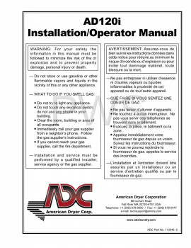 American Dryer Parts - Diagrams, Parts and Manuals for American Dryer AD120i Dryer