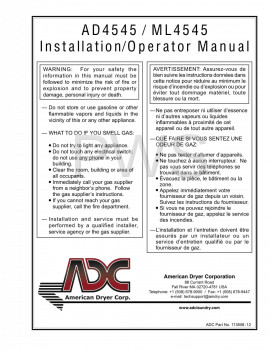 American Dryer Parts - Diagrams, Parts and Manuals for American Dryer AD4545 Dryer