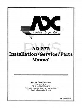 American Dryer Parts - Diagrams, Parts and Manuals for American Dryer AD-575 Dryer
