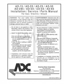 American Dryer Parts - Diagrams, Parts and Manuals for American Dryer AD-25 Dryer
