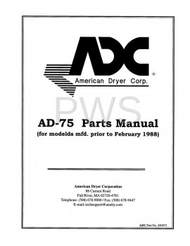 American Dryer Parts - Diagrams, Parts and Manuals for American Dryer AD-75 Dryer