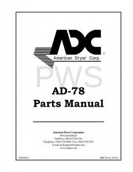 American Dryer Parts - Diagrams, Parts and Manuals for American Dryer AD-78 Dryer