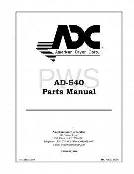 American Dryer Parts - Diagrams, Parts and Manuals for American Dryer AD-540 Dryer