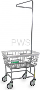 R&B Wire Products - R&B Wire #100E91/ANTI Antimicrobial Laundry Cart with Single Pole Rack