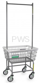 R&B Wire Products - R&B Wire #100E58/ANTI Antimicrobial Laundry Cart with Double Pole Rack
