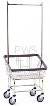 R&B Wire Products - R&B Wire #100T58 Rolling Front Load Laundry Cart/Chrome Basket w/Double Pole Rack