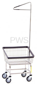 R&B Wire Products - R&B Wire #100T91 Rolling Front Load Laundry Cart/Chrome Basket w/Single Pole Rack