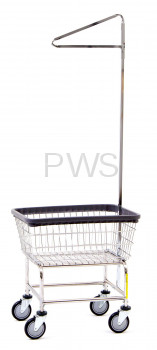 R&B Wire Products - R&B Wire #100D91 Rolling Narrow Laundry Cart/Chrome Basket w/Single Pole Rack