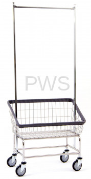 R&B Wire Products - R&B Wire #200S56 R&B Wire #200S56 Large Capacity Front Load Laundry Cart/Chrome Basket w/Double Pole Rack
