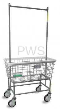 R&B Wire Products - R&B Wire 200F56/ANTI Antimicrobial Large Capacity Laundry Cart w/ Double Pole Rack