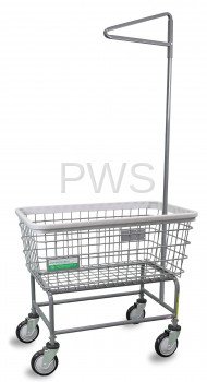 R&B Wire Products - R&B Wire 200F91/ANTI Antimicrobial Large Capacity Laundry Cart with Single Pole Rack