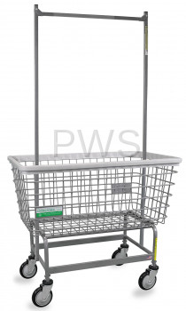 R&B Wire Products - R&B Wire #201H56/ANTI Antimicrobial Mega Capacity BIG DOG Laundry Cart with Double Pole Rack