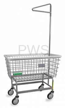 R&B Wire Products - R&B Wire #201H91/ANTI Antimicrobial Mega Capacity BIG DOG Laundry Cart with Single Pole Rack