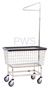 R&B Wire Products - R&B Wire #201H91 Mega Capacity Laundry Cart w/ Single Pole Rack